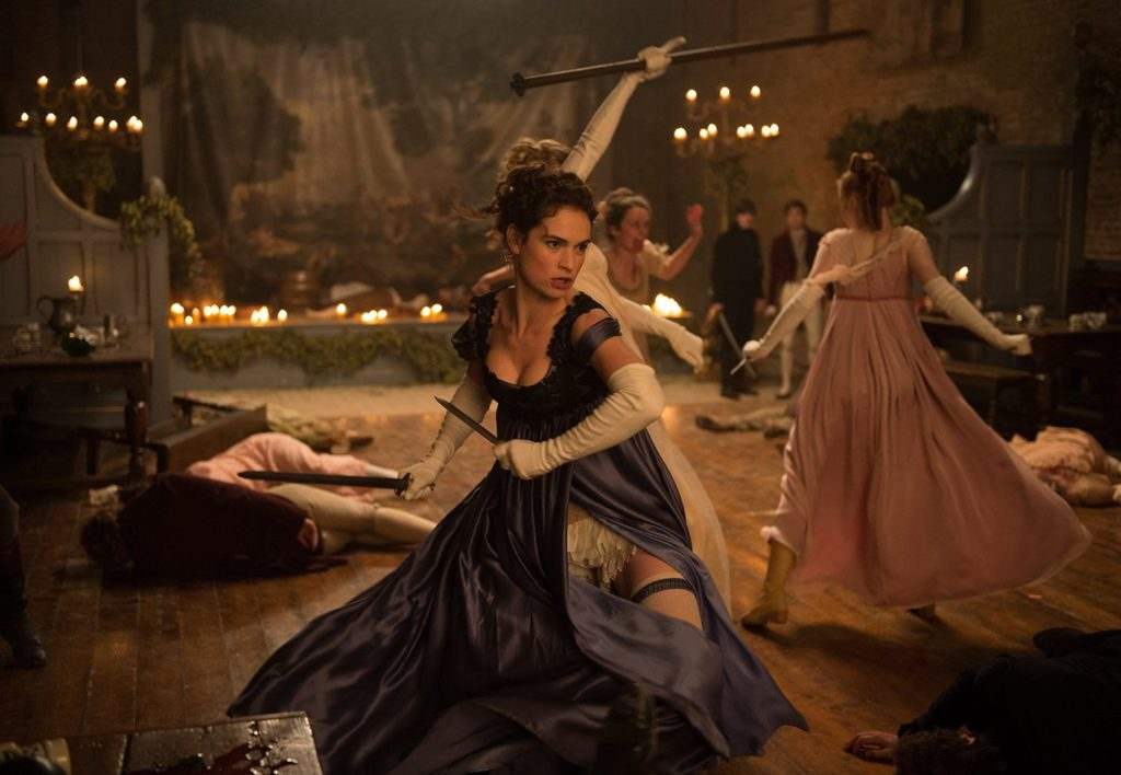 Lizzy Bennet slaying some zombies in Pride and Prejudice and Zombies