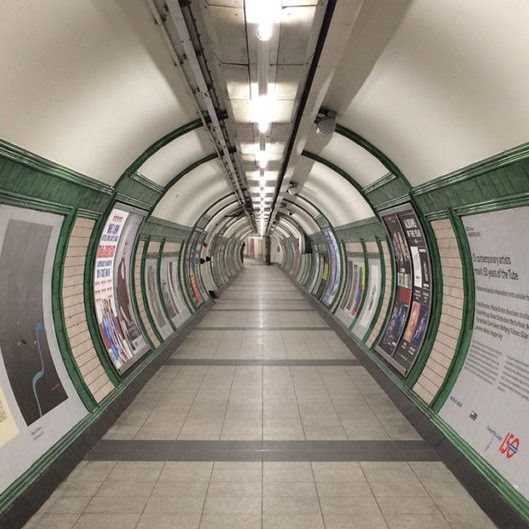 London Tube tunnel for passengers to access the Bakerloo Line platforms.