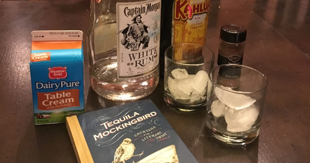 Ingredients for the drink Love in the Time of Kahlúa, also known as a White Cuban.
